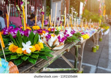 Kratong of floating basket by banana leaf for Loy Kratong Festival or Thai New Year  and river goddess worship ceremony,the full moon of the 12th month Be famous festival of Thailand.