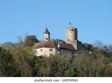 Krautheim Castle above a small village in Hohenlohe named Krautheim (Germany)