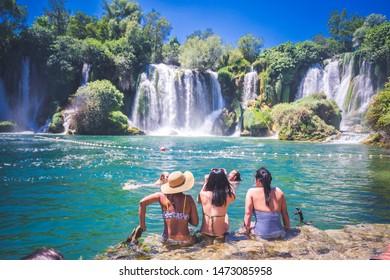 Kravica, Bosnia-Herzegovina - june 30 2019. Kravice waterfall on the Trebizat River in Bosnia and Herzegovina