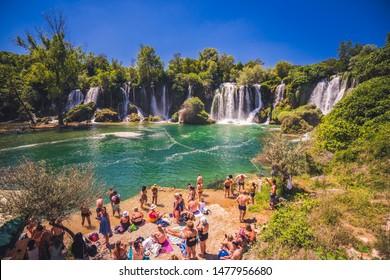 Kravica, Bosnia-Herzegovina - june 30 2019, Kravice waterfall on the Trebizat River in Bosnia and Herzegovina