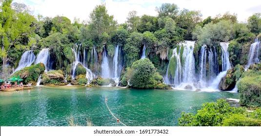 Kravice Waterfalls at Bosnia and Herzegovina / BIH - July 26, 2019: Kravice Waterfalls
