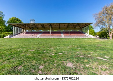 Krefeld - Frontview to the small  Grandstand , the racecourse with its Art Nouveau tribunes enjoys great popularity on race days, North Rhine Westphalia, Germany, 20.04.2019