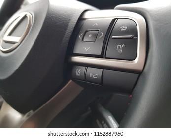 Krefeld / Germany - 07 21 2018 : luxury car brand Lexus interior design and Lexus steering details.