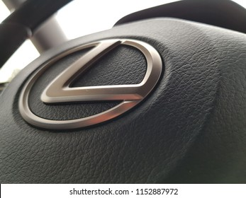 Krefeld / Germany - 07 21 2018 : luxury car brand Lexus interior design and Lexus steering details.