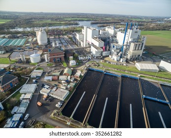 KREFELD / GERMANY - DECEMBER 17 2015 - Aerial of the garbage incineration plant with it's connected purification cleaning water and burning garbage