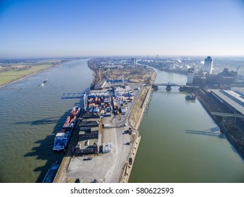KREFELD / GERMANY - FEBRUARY 15, 2017 : The container harbour shipping container into the world in Krefeld Uerdingen
