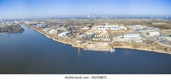 KREFELD / GERMANY - FEBRUARY 15, 2017 : The companys MFG, Accurec,Felbmayr,Kloesters and Air Liquide producing in the turnaround harbour of Krefeld, Germany
