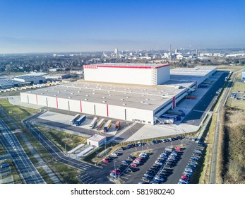 KREFELD / GERMANY - FEBRUARY 15, 2017 : The Bauhaus distribution centre is the companys biggest worldwide located in the turnaround harbour of Krefeld, Germany