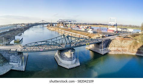 KREFELD / GERMANY - FEBRUARY 15, 2017 : The historic draw bridge connects Linn with the Rhine harbour in Krefeld, Germany