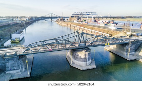 KREFELD / GERMANY - FEBRUARY 15, 2017 : The historic draw bridge is connectiong Linn with the Rhine harbour in Krefeld, Germany