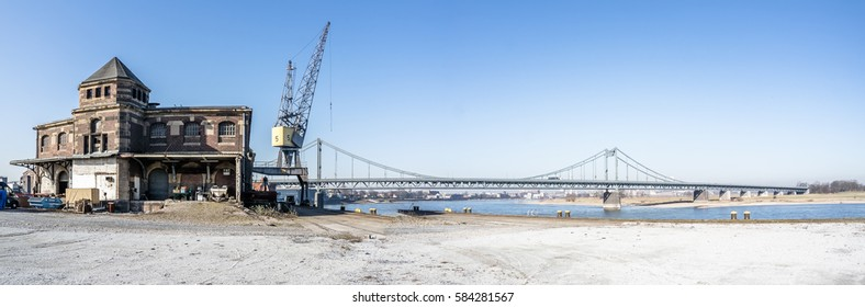 KREFELD / GERMANY - FEBRUARY 15, 2017 : The Rhine harbour in Krefeld shipping container into the world