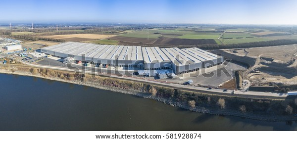 KREFELD / GERMANY - FEBRUARY 15, 2017 : The company VGG uses more than 46000 square meter for shipping in the turnaround harbour of Krefeld, Germany
