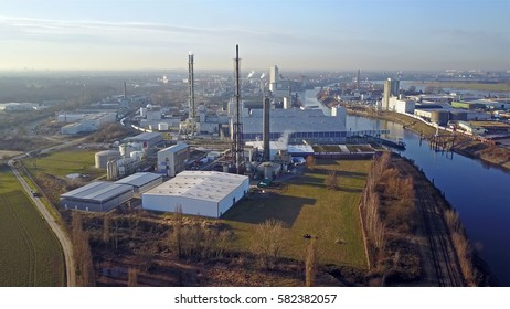 KREFELD / GERMANY - FEBRUARY 18 2017 : Compo producing fertilizer in the harbour of Krefeld, aerial