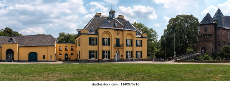 KREFELD, GERMANY - JULY 22: Burg Linn is a water castle from the Middle Ages in Krefeld, Germany.