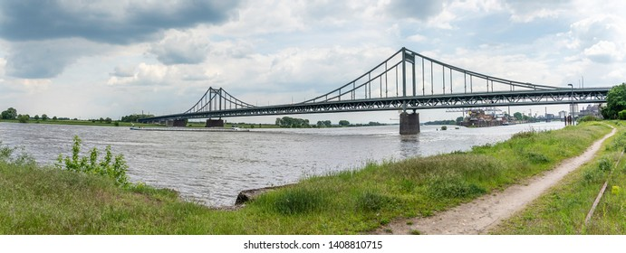 Krefeld - Panorama of River Rhine Bridge with View to Krefeld Harbour, North Rhine Westphalia, Germany, 24.05.2019
