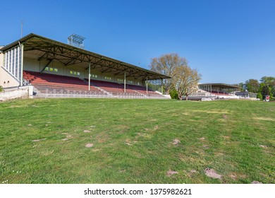 Krefeld - View to all three  Grandstand , the racecourse with its Art Nouveau tribunes enjoys great popularity on race days, North Rhine Westphalia, Germany, 20.04.2019
