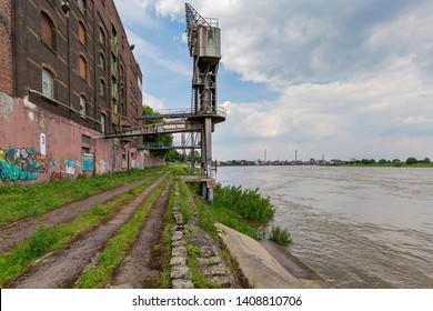Krefeld - View to former Harbour Crane nearby River Rhine,  North Rhine Westphalia, Germany, 24.05.2019