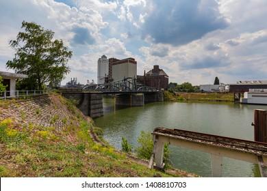 Krefeld - View to Harbour Bridge, the swing bridge was built in 1905 in the annex of the Rhine harbor in Linn in Art Nouveau style, North Rhine Westphalia, Germany, 24.05.2019