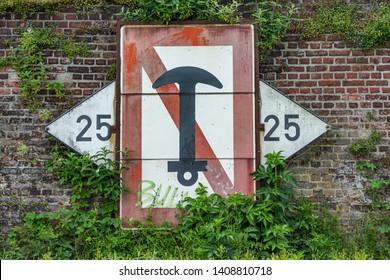 Krefeld - View to Naval Sign at River Rhine, North Rhine Westphalia, Germany, 24.05.2019