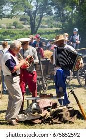 Kremenchug, Ukraine - June 3, 2017: Street folk musicians on performing during Strawberry festival
