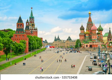 Kremlin and Cathedral of St. Basil at the Red Square in Moscow, Russia.