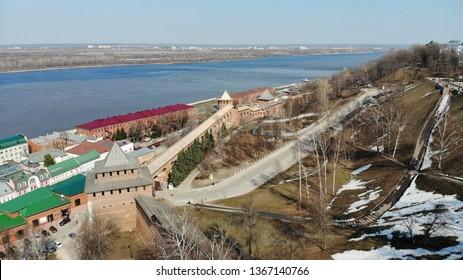 Kremlin of Nizhny Novgorod and a view of Volga, April 2019