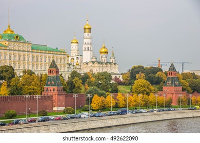 Kremlin quay in Moscow and churches