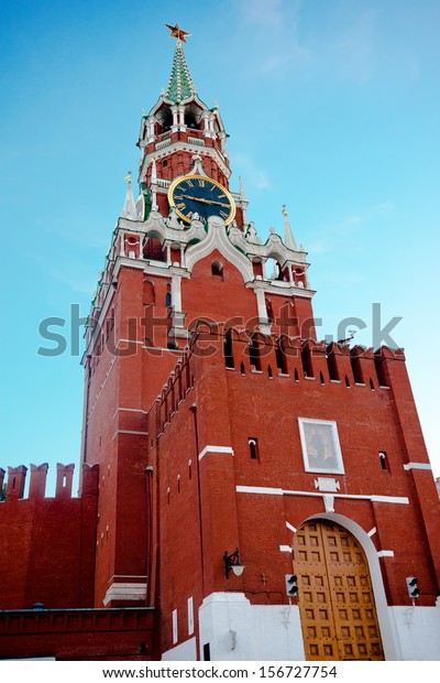 Kremlin Spasskaya tower on Red Square in Moscow, Russia