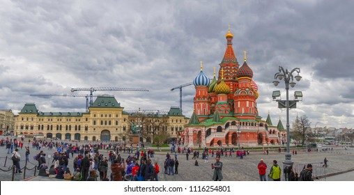 KREMLIN SQUARE , MOSCOW , RUSSIA - APRIL 27TH 2018 : View of Moscow Red Square Kremlin towers. Moscow's world famous architecture, Capital city of Russia.