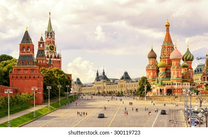 Kremlin and St Basil's Cathedral on the Red Square in Moscow in summer, Russia. Moscow Kremlin is one of the main travel attractions in Europe. Beautiful sunny panorama of Moscow centre. UNESCO site.