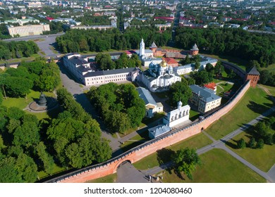 The Kremlin of Veliky Novgorod in the cityscape on a sunny summer day (shot from a quadcopter). Russia