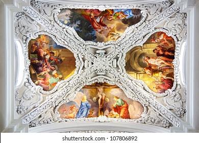 KREMSMUNSTER, AUSTRIA - JUNE 20: Interior of the Christ the Saviour and St.Agapitus church in Kremsmunster. June 20, 2012 Kremsmunster, Austria. Benedictine monastery in Kremsmunster in Upper Austria.