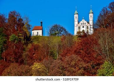 Kreuzkirche on the Kalvarienberg in Bad Toelz, Germany