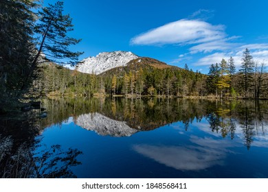 """the """"Kreuzteich"""" near the famous """"Grüner See / Green lake"""" an the Pribitz mountain left and the Messnerin mountain right in the """"Hochschwab"""" mountainrange, Styria, Austria on a clear autumn day"""