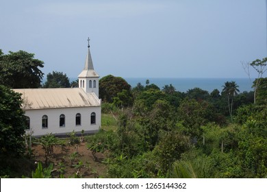 Kribi, Sud / Cameroon - February 12 2017: A colonial church outside on a hill close to the coastal town of Kribi, Cameroon.
