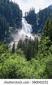 Krimml waterfalls in high tauern mountain range national park (austria). hdr