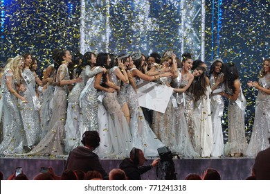 Krinica, Poland - December 01, 2017 ; Miss Supranational 2017, Final Round of World Contest for Most Beautiful woman in the World at Hotel Krinica, Evening Ball Gown Dress session Crown Moment