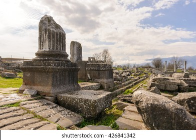 KRINIDES, GREECE - FEBRUARY 25, 2010: Ruins of the corinthian north-east temple at Philippi