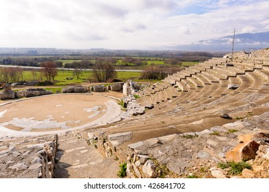 KRINIDES, GREECE - FEBRUARY 25, 2010: Ancient Greek theater of Philippi which later served as an arena for beast fights during Roman colonization