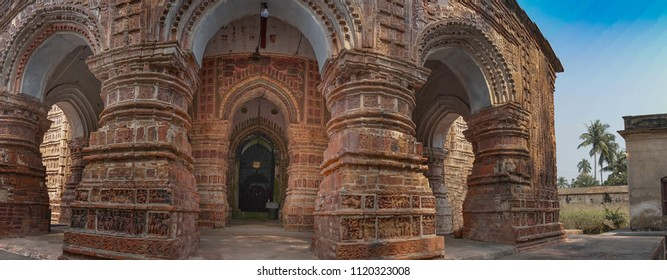 Krishna Chandra temple of Kalna, West Bengal, India - It is one of oldest temples of at Kalna with terracotta art works on the temple walls.