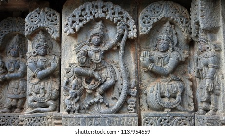 Krishna dance on Kaliya snake - Lakshmi Narasimha Temple, Nuggehalli, Hassan District of Karnataka state, India. The temple was built in 1246 CE rule of Hoysala Empire.