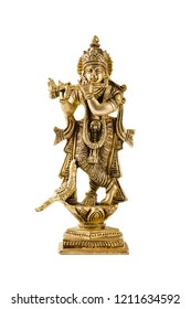 Krishna god Vishnu avatar brass statue isolated on white with reflection