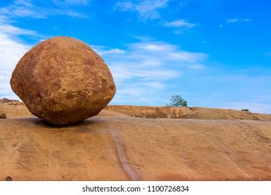 Krishna's butterball in mahabalipuram, Tamil Nadu, India