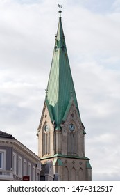 Kristansand, Norway, Domkirke December, 2018: Church in Kristiansand close-up