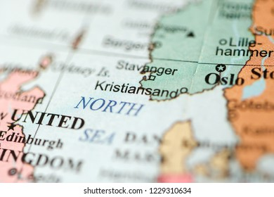 Kristiansand. Europe on a geography map