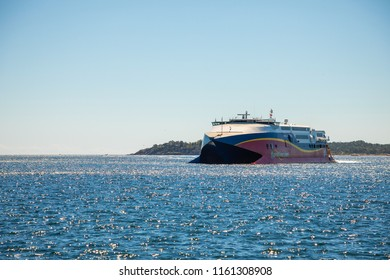 Kristiansand, Norway - 30.06.2018: Fast catamaran HSC Fjord Cat from Hirtshals to Kristiansand in Norway