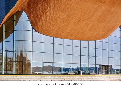Kristiansand, Norway - April 6, 2015: Theater and concert hall on small island name-  Odderoya in Kristiansand, Norway. Arts Centre, Concert Hall, Europe, Norway, 2011, ALA Architect