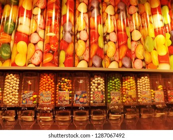 Kristiansand, Norway - August 8, 2015: Colorful candies in various forms offered in a candy store. Norway, Scandinavia, Europe.