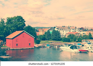 Kristiansand, Norway. Capital of Vest-Agder county. Boats in marina.
