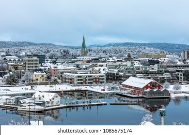 Kristiansand, Norway - January 17, 2018: Winter in Kristiansand City. Snow covered city seen from Odderoya.